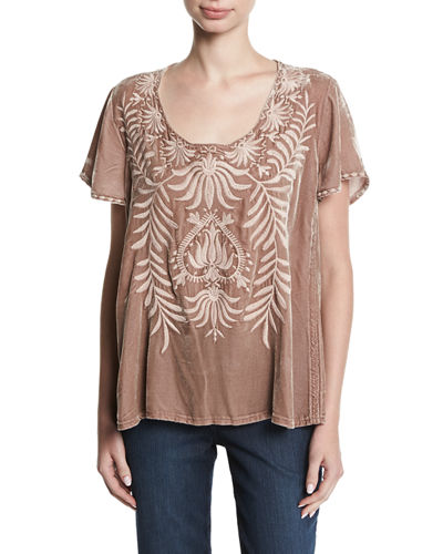 Saskla Flutter-Sleeve Embroidered Velvet Top