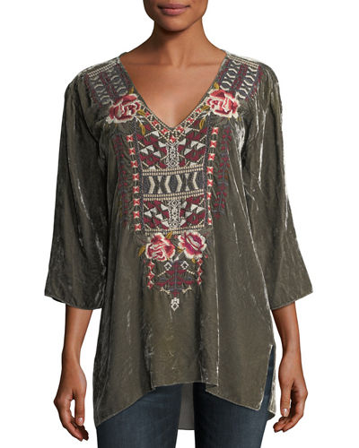 Issoria Embroidered Velvet Tee, Plus Size
