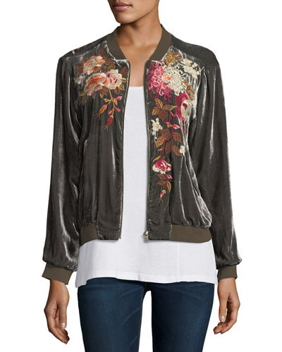 Chrys Velvet Embroidery Bomber Jacket