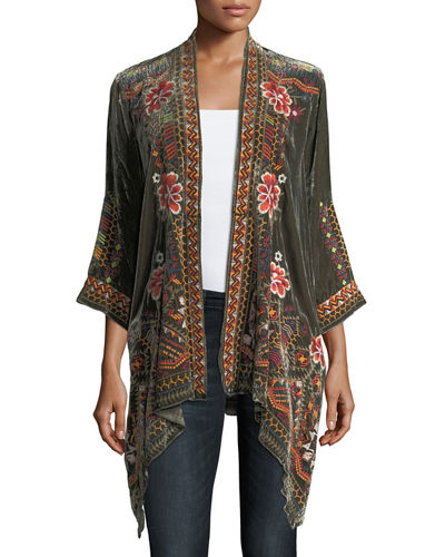 Waleska Draped Embroidered Velvet Cardigan, Plus Size