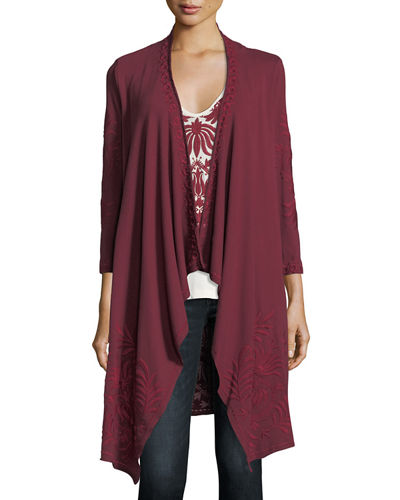 Saskla Embroidered French Terry Cardigan, Plus Size