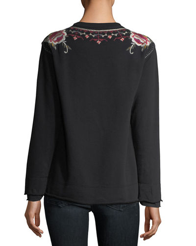 Issoria Embroidered French Terry Sweatshirt, Plus Size