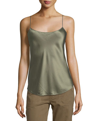 WOMAN SILK-SATIN CAMISOLE GREY GREEN