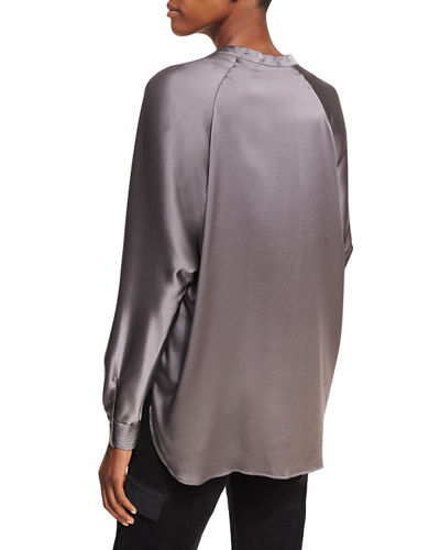 Split-Neck Long-Sleeve Silk Satin Blouse