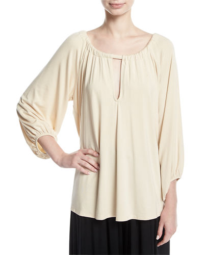Kristine 3/4-Sleeve Keyhole-Front Top, Plus Size