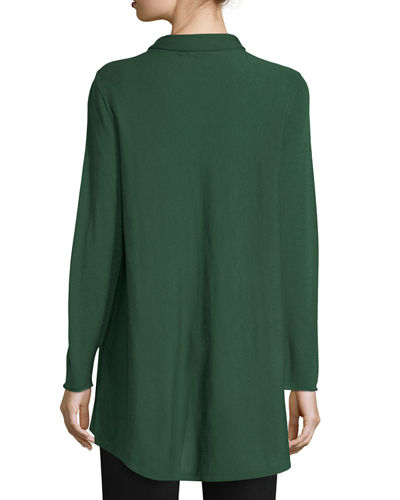 Sleek Scrunch-Neck Knit Top, Plus Size