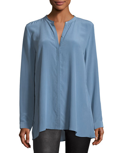 Long-Sleeve Silk Crepe de Chine Boyfriend Shirt, Plus Size