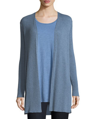 Eileen Fisher Long Straight Wool Crepe Cardigan, Plus Size