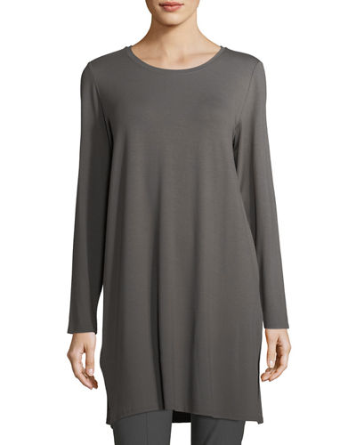 Long-Sleeve Lightweight Viscose Jersey Tunic, Plus Size