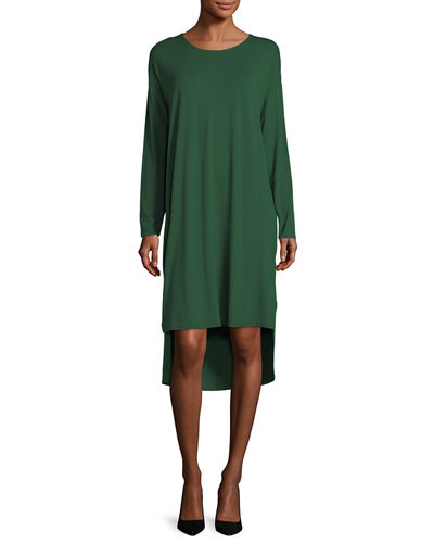 Long-Sleeve Lightweight Viscose Jersey Shift Dress, Plus Size