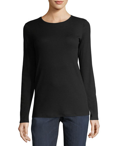 Eileen Fisher Long-Sleeve Micro-Tencel® Stretch-Knit Top