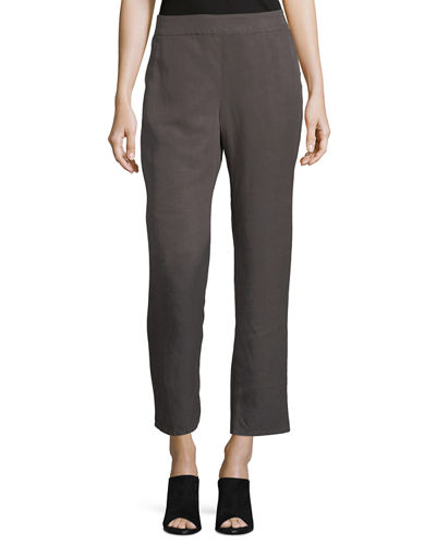 Linen Ankle Pants, Plus Size