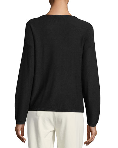 Sleek Long-Sleeve Bateau-Neck Knit Top