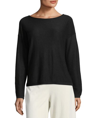 Eileen Fisher Sleek Long-Sleeve Bateau-Neck Knit Top