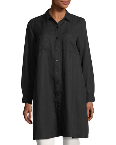 Long-Sleeve Button-Front Shirtdress, Petite