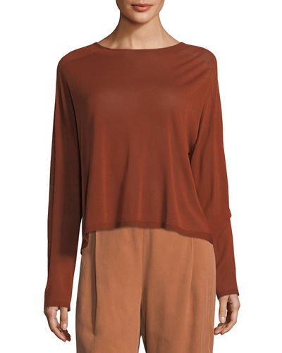 Seamless Sleek Funnel-Neck Top, Petite