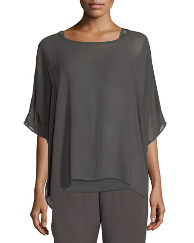 Eileen Fisher Short-Sleeve Sheer Silk Box Top