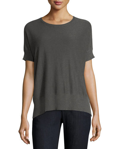 Sleek Short-Sleeve Stretch-Knit Top, Petite