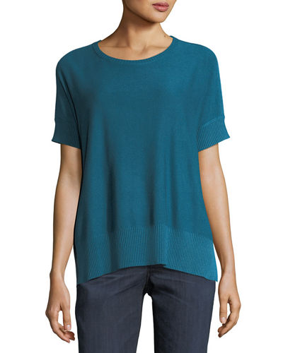 Sleek Short-Sleeve Stretch-Knit Top, Plus Size