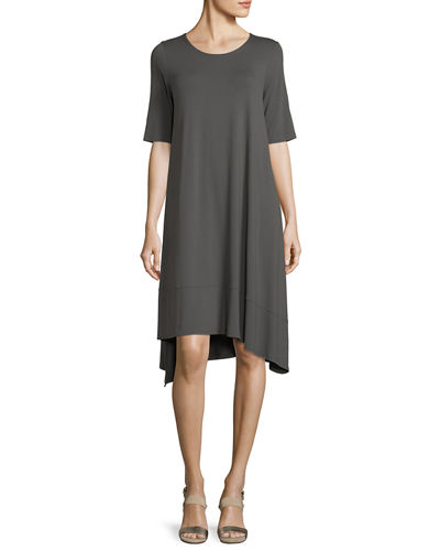 Half-Sleeve Lightweight Jersey Asymmetric Dress, Petite