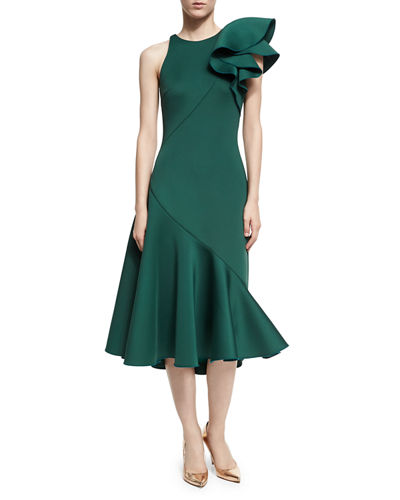 Full Skirt Neoprene Bow-Shoulder Cocktail Dress