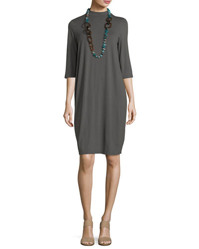 3/4-Sleeve Lightweight Jersey Knee-Length Dress