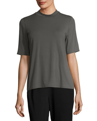 Eileen Fisher Mock - neck Lightweight Jersey Top, Plus Size