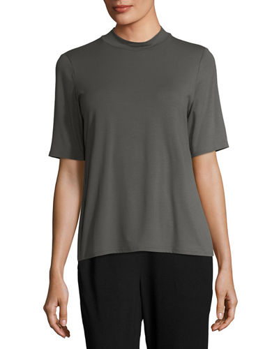 Mock-Neck Lightweight Jersey Top, Plus Size