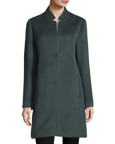 Drapey Suri Alpaca-Blend Long Coat, Plus Size