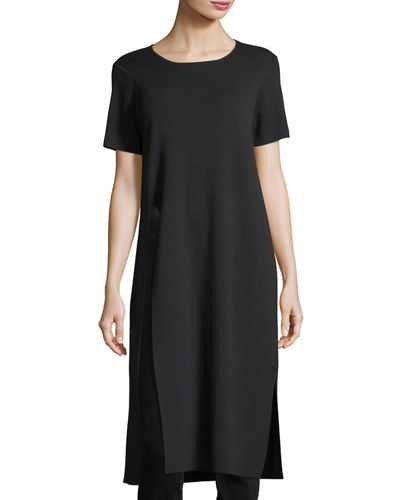 Short-Sleeve Washable Wool Crepe Tunic, Petite