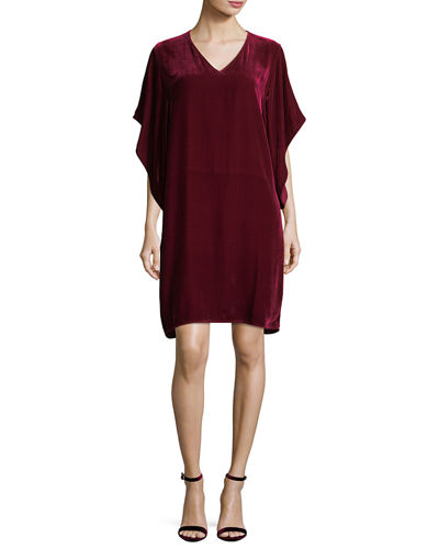 Easy Velvet Kimono-Sleeve Dress, Plus Size