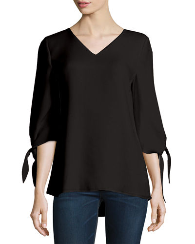 Kenna Tie-Sleeve V-Neck Silk Blouse, Plus Size