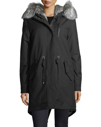 Rena-WX Zip-Front Parka Jacket w/ Fox Fur