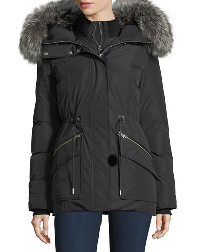 Katryn Hip-Length Down Jacket w/ Fur Trim