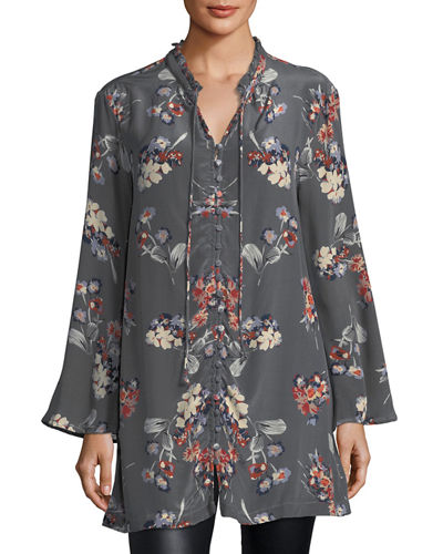 Whitney Long Floral-Print Tunic, Plus Size