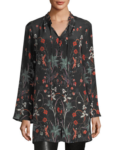 Whitney Long Floral-Print Tunic