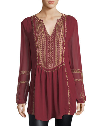 Lauren Long-Sleeve Embroidered Boho Blouse