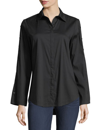 Bianchi Silky Poplin Blouse w/ Button-Sleeve Detail
