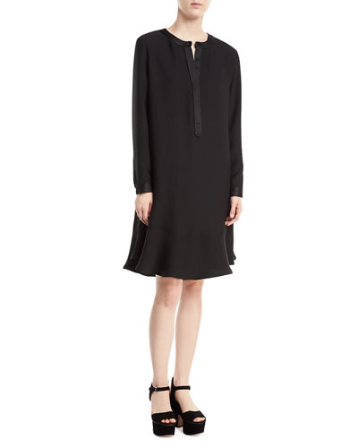 Long Sleeve Satin-Trimmed Jumper  Dress