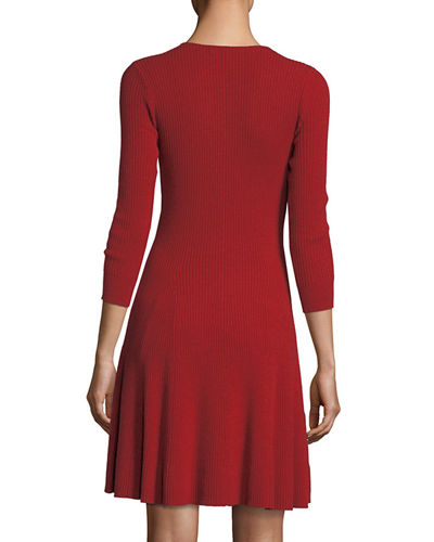 Ribbed Fit-&-Flare Cashmere Sweaterdress