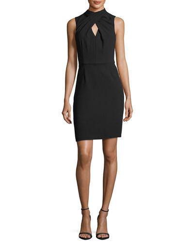 Crossover Mock-Neck Sleeveless Dress w/ Keyhole