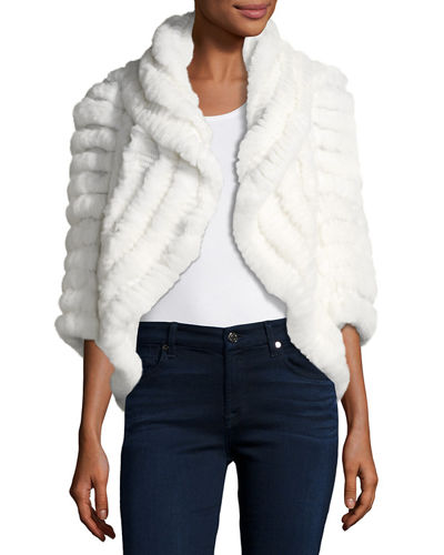 Luxury Knit Rabbit Fur Striped Shrug