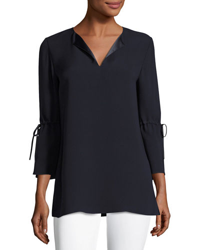 Sela Drawstring-Sleeve Silk Blouse, Plus Size