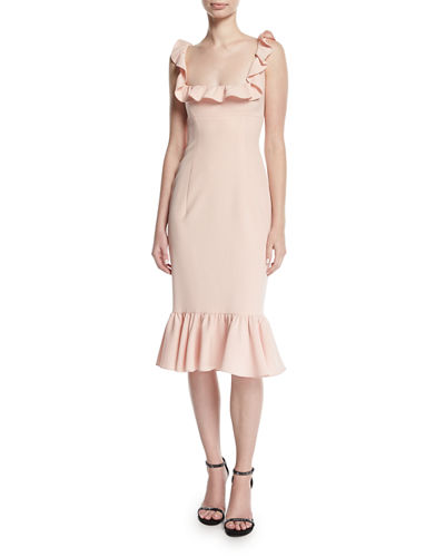 Opalina Square-Neck Flounce-Hem Cocktail Dress
