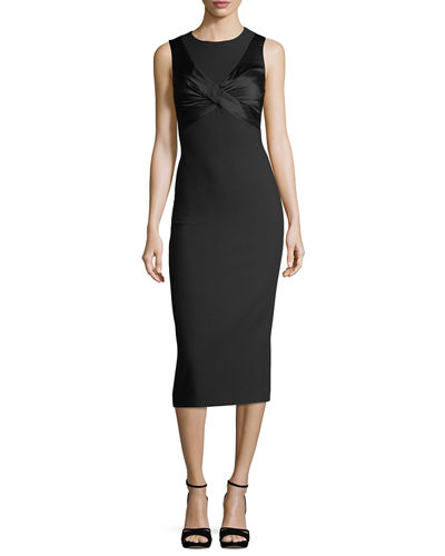 Adelise Crossover Sleeveless Sheath Midi Cocktail Dress