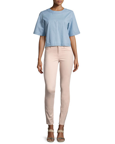 485 Luxe Sateen Mid-Rise Skinny Pants