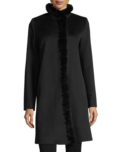 Fur-Trimmed Stand-Collar Wool Coat