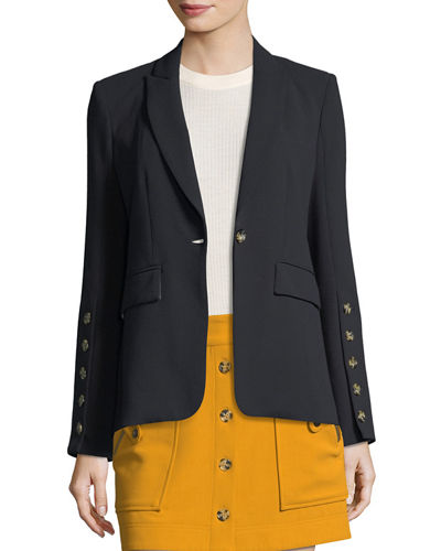 Steele Cutaway Button-Cuff Tailored Jacket