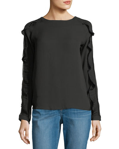 Pleated Ruffle Long-Sleeve Blouse
