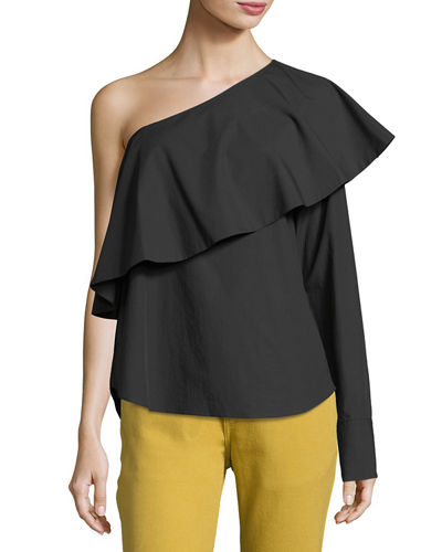 One-Shoulder Ruffle Poplin Top